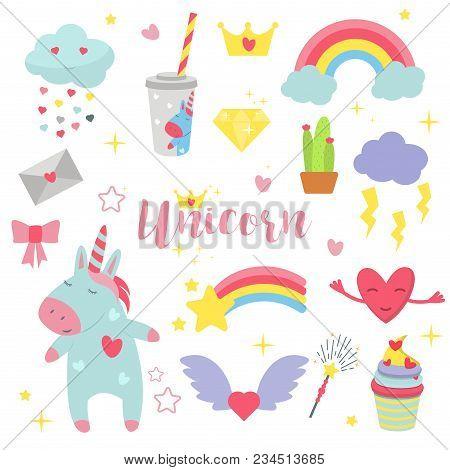 Cute Unicorn Baby Vector Illustration Magic Rainbow Fantasy Fairy Design Beautiful Fairytale Art. Fa