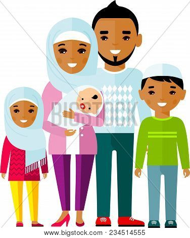 Traditional Muslim Family With Children And Maturity.