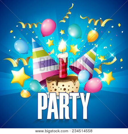 Party Balloon Ribbon Party Hat Cake Blue Background Vector Image