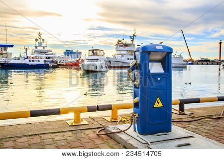 Charging Station For Boats, Electrical Outlets To Charge Ships In Harbor - Supply Electricity For Re