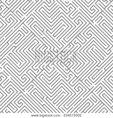 Labyrinth Intricacy Maze Pattern Seanless Background Design Template Vector Illustration
