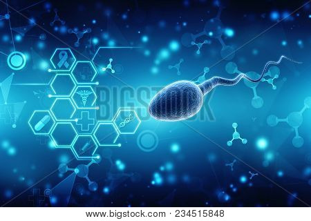 Human Sperm Cell In Medical Structure Background. 3d Illustration