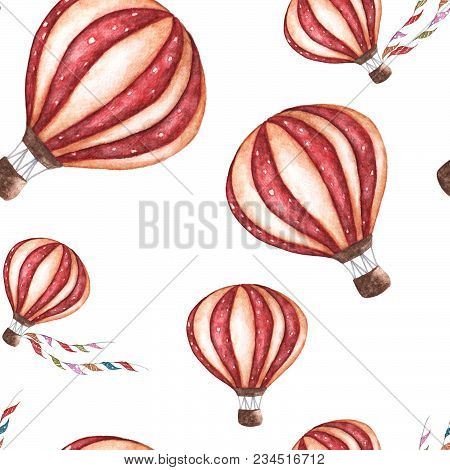 Watercolor Seamless Pattern With Cartoon Hot Air Balloon. Transport Ornament With Flag Garlands On W