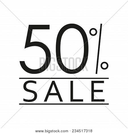 50% Sale. Price Off Icon With 50 Percent Discount. Vector Illustration.