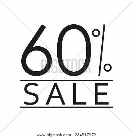 60% Sale. Price Off Icon With 60 Percent Discount. Vector Illustration.