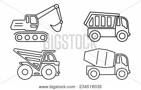 Truck Outline Icon Set Dump Mixer Excavator Vector Illustration