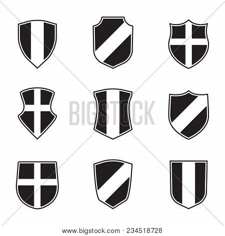 Shields Set. Vector Illustration Of Different Shields Shape. Heraldic Design Elements.