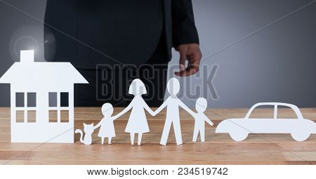 Cut outs of family home and car with model