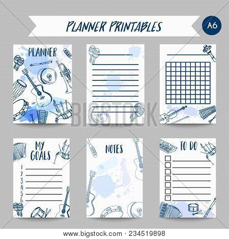 Planner With Music Instruments Organizer Design. Hand Drawn Drum, Piaono, Violin, Guitar And Saxopho