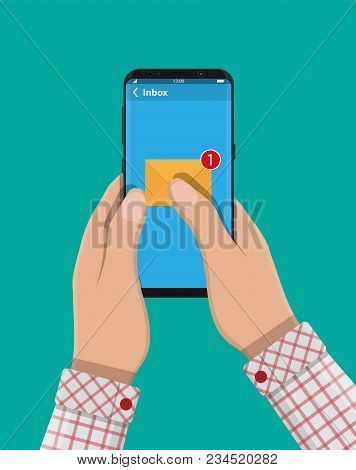 Paper Envelope Letter With Counter Notification In Phone. Mail Sms Message Icon. Unread Email Messag