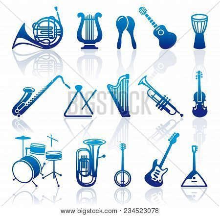 Silhouettes Of Various Musical Instruments. Flat Illustration.vector Illustration