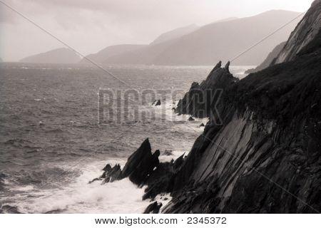 Dramatic Cliff And Sea Scape Ireland