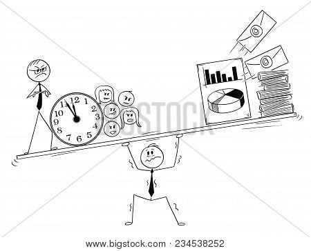 Cartoon Stick Man Drawing Conceptual Illustration Of Stressed Businessman Under Pressure By Coworker