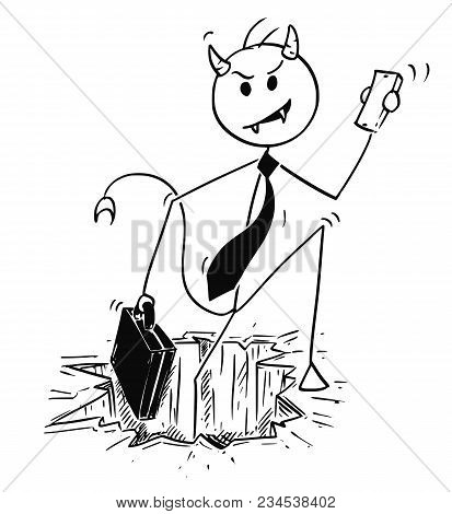 Cartoon Stick Man Drawing Conceptual Illustration Of Demonic Or Evil Businessman Devil Coming Form H