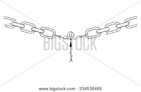 Cartoon Stick Man Drawing Conceptual Illustration Of Businessman Or User Or Employee As The Weakest
