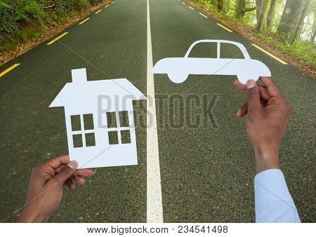 Cut outs house and car on road
