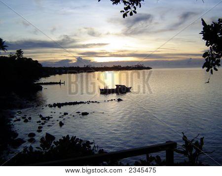 Sunrise On Coast Of Samoa