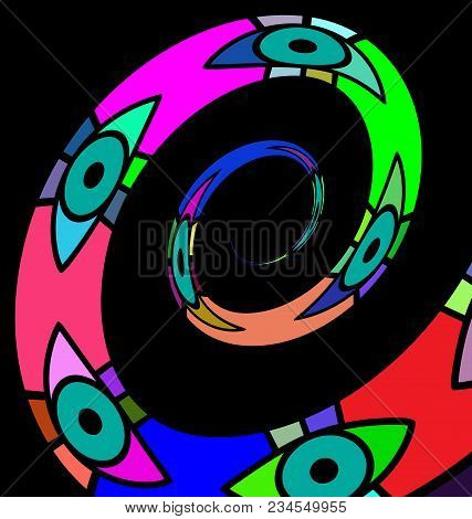 Black Background And Abstract Colored Image Of Spiral Consisting Of Lines