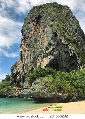 Vertical Shot Of Blue Water And Mountain On Phra Nang Beach Railay Krabi Province Thailand