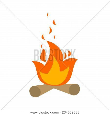 Campfire Isolated On White Background. Bonfire Icon. Vector Stock.