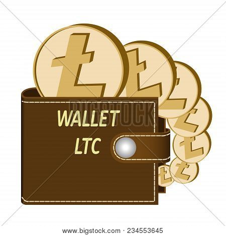 Litecoin Wallet With Coins On A White Background , Crypto Currency In The Wallet ,litecoin Coins In