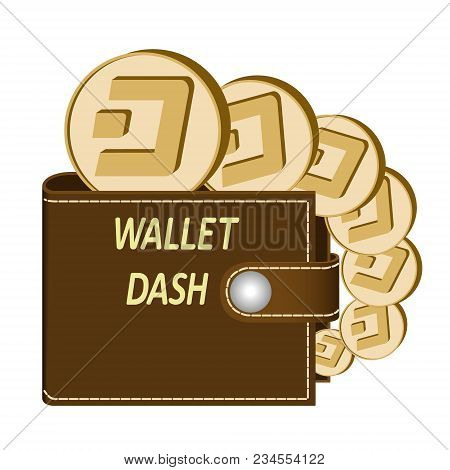 Dash Wallet With Coins On A White Background , Crypto Currency In The Wallet ,dash Coins In The Wall