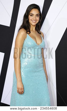 Geraldine Viswanathan at the Los Angeles premiere of 'Blockers' held at the Regency Village Theatre in Westwood, USA on April 3, 2018.