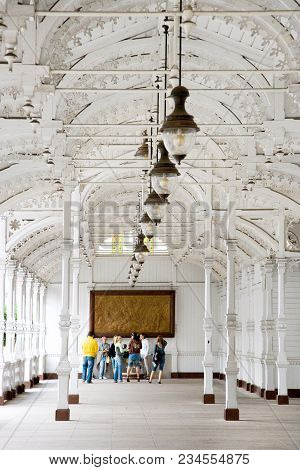 Karlovy Vary, Czech Republic - Sept 6, 2014: Market Colonnade, Historical Center In Spa Town Karlovy