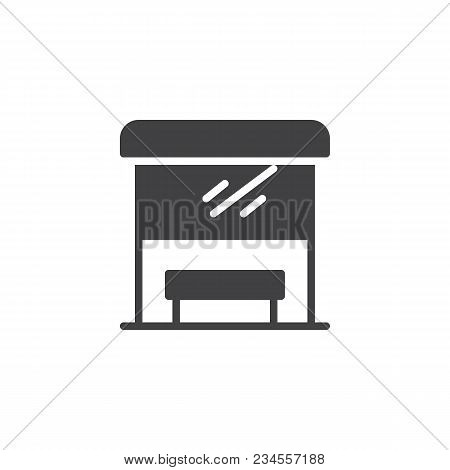 Bus Stop Vector Icon. Filled Flat Sign For Mobile Concept And Web Design. Transport Stop Solid Icon.