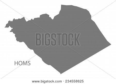 Homs Map Of Syria Grey Illustration Shape