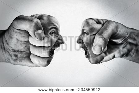 Two Fists With A Male And Female Face Collide With Each Other On Light Background. Concept Of Confro