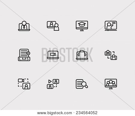 Online Education Icons Set. Webinar Online And Online Education Icons With Video Interview, Research
