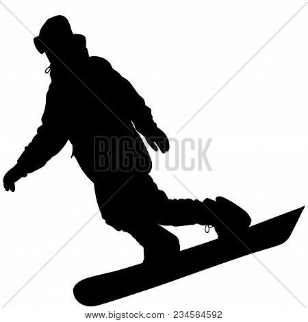 Black Silhouette Of A Snowboarder Descending The Mountain Slope - Vector Illustration