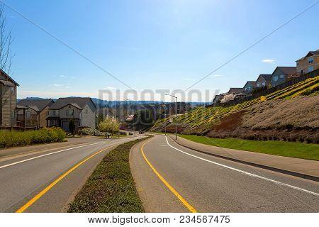 Neighborhood Two Way Street In North American Suburban Neighborhood On A Blue Sky Sunny Day