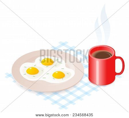 Flat Isometric Illustration Of Plate With Scrambled Eggs And Cup Of Coffee. The Dish With Fried Omel