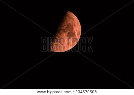 Big Red Moon On Black Background Bloody Moon July Summer