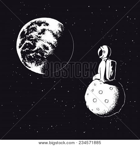 Astronaut Sits On Moon And Watches To Earth.spaceman Explore Universe.vector Illustration