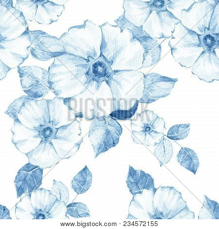 Delicate Blue Floral Seamless Pattern. Watercolor Monochrome Background