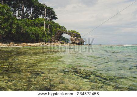 Neil Island At Andaman And Nicobar Archipelago, Natural Stone Bridge On The Sea Coast, India