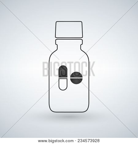 Linear Pill Bottle Icon With Pills. Modern Pill Bottle For Pills Or Capsules. Flat Style Vector Illu