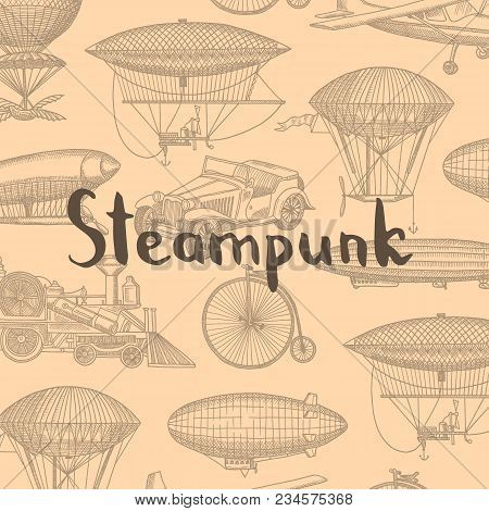 Vector Background With Steampunk Hand Drawn Airships, Air Balloons, Bicycles And Cars With Place For