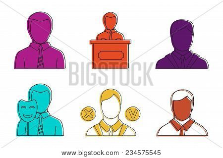Politic Man Icon Set. Color Outline Set Of Politic Man Vector Icons For Web Design Isolated On White