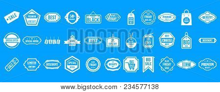 Sale Badge Icon Set. Simple Set Of Sale Badge Vector Icons For Web Design Isolated On Blue Backgroun
