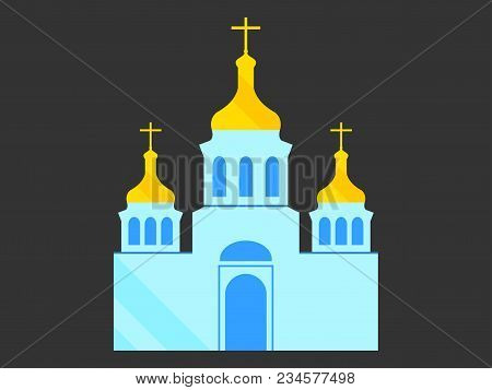Church With Domes, Flat Style, Christian Orthodox Religious Architecture. Vector Illustration