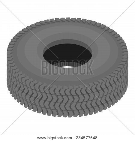 Rubber Tyre Icon. Isometric Illustration Of Rubber Tyre Vector Icon For Web