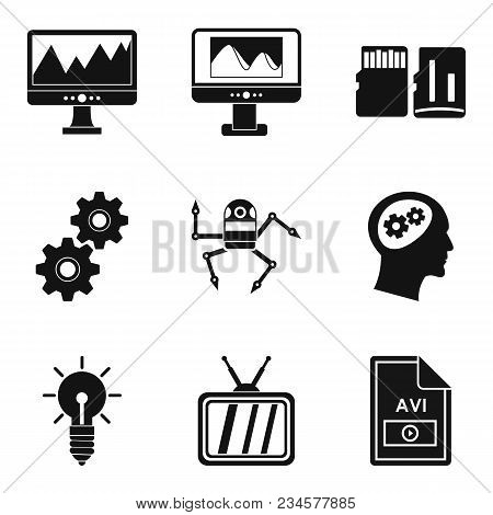 Video Signal Icons Set. Simple Set Of 9 Video Signal Vector Icons For Web Isolated On White Backgrou