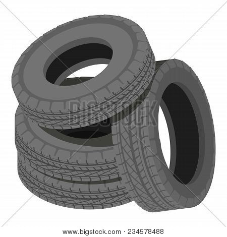 Heap Tyre Icon. Isometric Illustration Of Heap Tyre Vector Icon For Web
