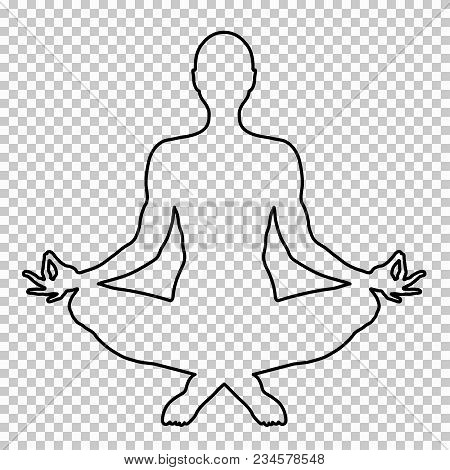 Outline Figure Of A Man Sitting In Lotus Pose On A Transparent Background, Stencil, Yogi Silhouette.