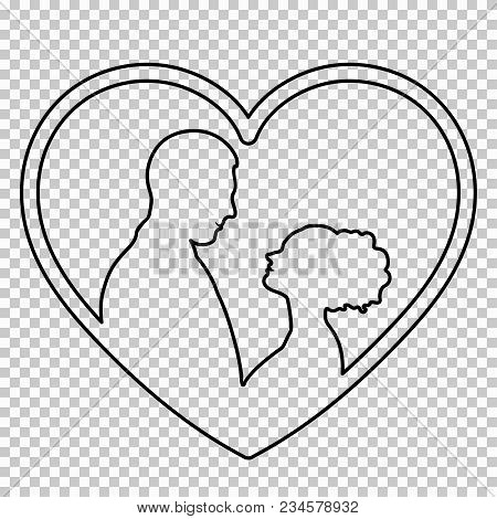 Outline Figure Couple In Love On Transparent Background, Vector Black And White Line Drawing, Stenci
