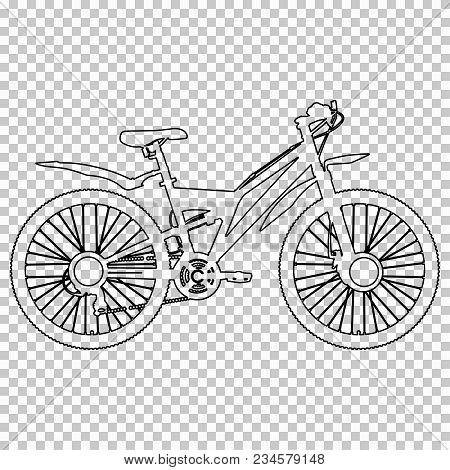 Outline Figure Bicycle Half-face On Transparent Background, Vector Contour Black And White Line Draw